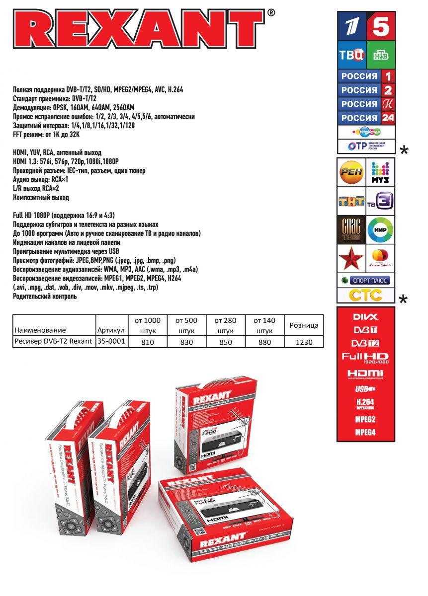 Ресивер приставка DVB-T2 тюнер Rexant